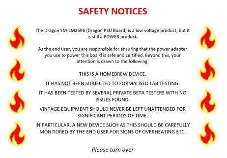 Dragon PSU Board - Safety Notice 1